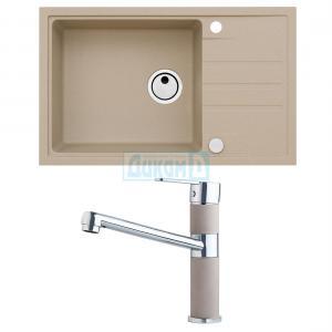 Комплект гранитна кухненска мивка Интермезо 130 + гранитен смесител АМ 130