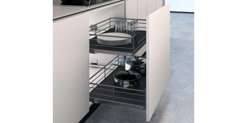 Retractable drawers for installation in a cabinet