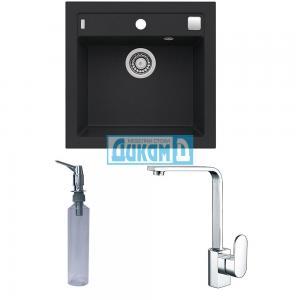 Комплект гранитна кухненска мивка Формик 20 + смесител Елегант + дозатор